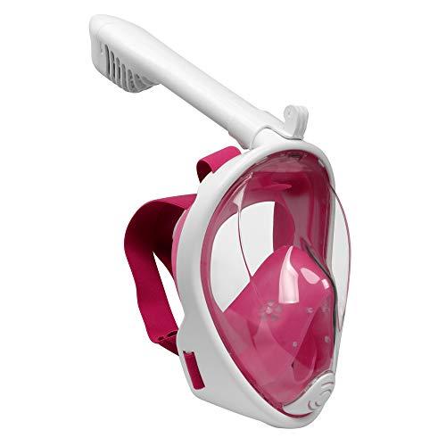 Emsmil 180° Schnorchelmaske Tauchmaske Vollmaske Vollgesichtsmaske Taucherbrille Snorkeling Mask Full Face Anti Fog für Schwimmen Schnorcheln Tauchen Kinder Kids Rosa XS