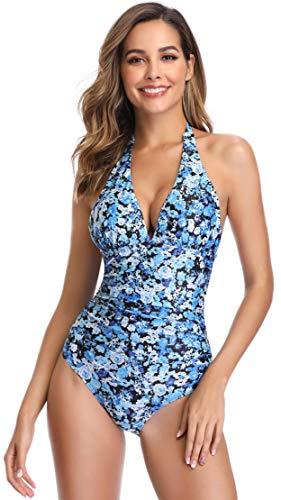 SHEKINI Bikini Imbottito Costume da Bagno Donna Un Pezzo Intero V-Collo Halter Ruched Controllo Addominale Regolabile Tracolla Triangolo Stampati Floreale Costumi Interi (S, Blu)