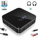 ESOLOM Bluetooth Adapter Audio,5.0 Bluetooth Transmitter Empfänger 2 in 1,LED Anzeige,24 Stunden Arbeitzeit,aptX LL 600MAh für PC Kopfhörer TV Laptop Stereoanlage Lautsprecher,TOSLINK/RCA/3,5 mm AUX