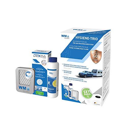 Hygiene Trio Frischwassersystem für 60 l Entkalker Desinfektion Silbernetz