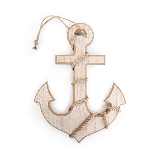 Logbuch-Verlag - Ancla grande de madera para colgar, decoración marítima (30 x 21 cm), color marrón natural, decoración de pared, símbolo náutico, como regalo para bodas, cumpleaños