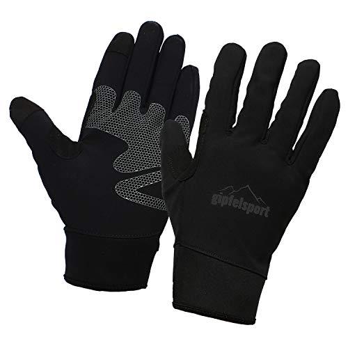gipfelsport Wanderhandschuhe für Herren und Damen - Touchscreen Handschuhe für Smartphone und Handy I Größe XL | Logo Schwarz