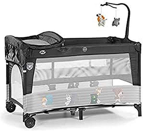 Innovaciones Ms 630227 - Cuna De Viaje con Dos Alturas, hasta 15 kg, altura recién nacido, con apertura lateral, ruedas, colchón, cambiador bebe, bolsa de transporte, plegable y regulable, Gris Oscuro