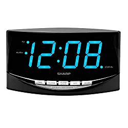 "SHARP Easy to See Alarm Clock with Jumbo 2"" Numbers - Bright Blue LED Display - Easy Set-up & Simple to Use –See from Across The Room! - High/Low Alarm Volume"