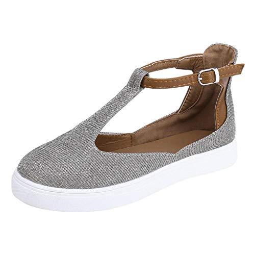 Damen Sandalen, Damen Mode römisch Jahrgang heraus Runde Kappe Plattform Flache Ferse Schnalle Lässige Strandschuhe (Grau, 39 EU)