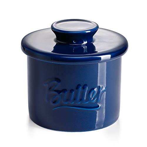 Sweese 322.103 Porcelain Butter Crock Keeper - French Butter Dish with Lid - Butter Relief, Navy