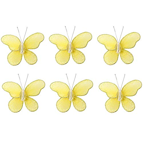 Butterfly Decor Yellow Mini Glitter Little Nylon Butterflies Decorations Decorate Baby's Nursery Bedroom Girls Room Wall Wedding Birthday Party Shower Home Craft Wire Mesh (X-Small 2' x 2' - Set of 6)