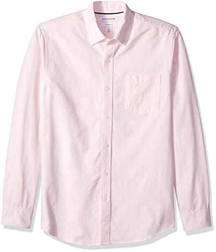 Amazon Essentials – Camisa Oxford de manga larga de corte entallado de rayas para hombre, Rosa (Pink Stripe Pin), US L (EU L)