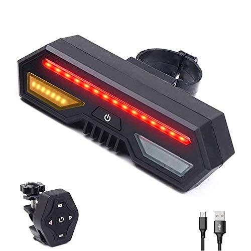 XUBIAODIAN Bike Tail Light with Turn Signals, USB Rechargeable Ultra Bright LED Safety Warning Bike Lights, Wireless Remote Control, 3 Modes, Waterproof Suitable for Mountain Bike, Road Bicycle for Ni