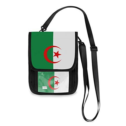 Bandolera pequeña con bloqueo de RFID de la bandera de Argelia con ranuras para tarjetas de crédito