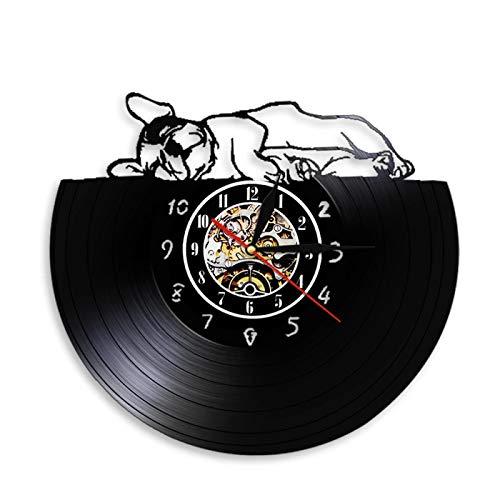SHILLPS Bulldog Francese LED Orologio da Parete in Vinile Tema E Orologi Regali Creativi per Orologi da Parete Realizzati A Mano