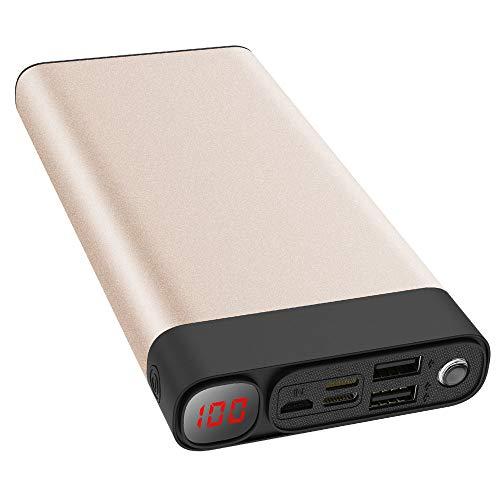 Power Bank 30000mAh 2USB Ports/Super Bright Flashlight Portable Charger Battery Pack for Phone Pad etc. (Gold)