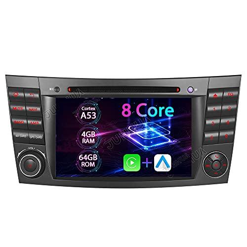 7 pulgadas 8-Core 4 + 64 GB Android 10.0 integrado Carplay + memoria DVD GPS Auto Radio para Mercedes-Benz W211 E200 E220 E240 E270 E280 CLS W219 W350 W500 Navegación 7 pulgadas Radio DAB+ OBD2 4G LTE