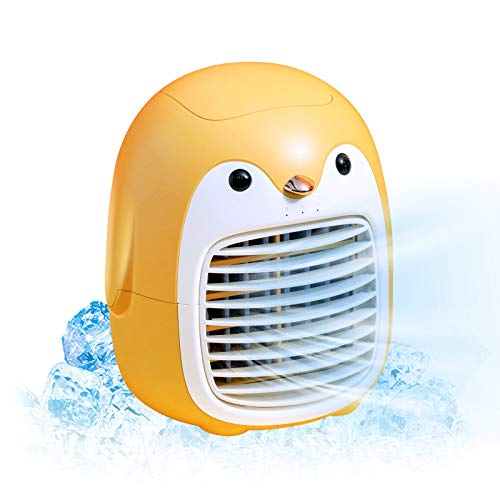 Cute penguin portable air conditioner fan, rechargeable usb wireless air cooler, personal space mini evaporative, quiet 3 speeds humidifier misting fan for office,home,room, car,bedroom(Orange)