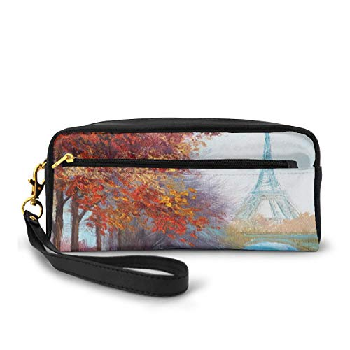 Pencil Case Pen Bag Pouch Stationary,Eiffel Tower View from Seine River in Autumn Romantic Paris Day in Fall Cityscape Print,Small Makeup Bag Coin Purse