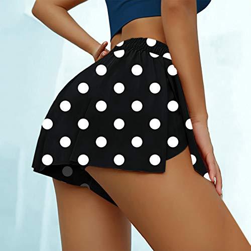 YANFANG Faldas de Tenis para Mujer Pantalones Cortos Interiores de Yoga para Correr Pantalones Deportivos elásticos con Bolsillos de Golf, cullote,de Color sólido, Navy,L