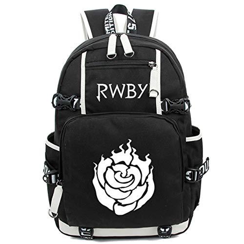 Siawasey Japanischer Anime-Cosplay-Rucksack, für Laptop, als Schultasche, Schultertasche schwarz RWBY