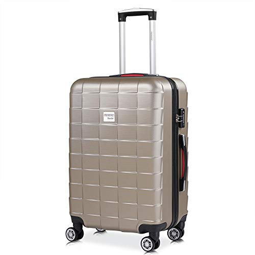 Monzana - Valise Rigide Exopack Couleur champagne Taille L 4 Roues 360° Poignée télescopique Serrure TSA Plastique ABS