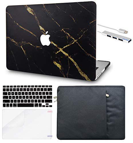 LuvCase 5in1 Laptop Case For MacBook Air 13 Inch (2021/2020) A2337 M1/A2179 Retina Display (Touch ID) Hard Shell Cover, Sleeve, USB Hub 3.0, Keyboard Cover & Screen Protector (Black Gold Marble)