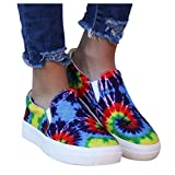 2020 Canvas Shoes for Women,Slip-On Tie-Dye Colorblock Casual Sneakers Fashion Hand-Painted Color Round Toe Flat-Bottomed Large Size Canvas Shoes (US:9.5-10)