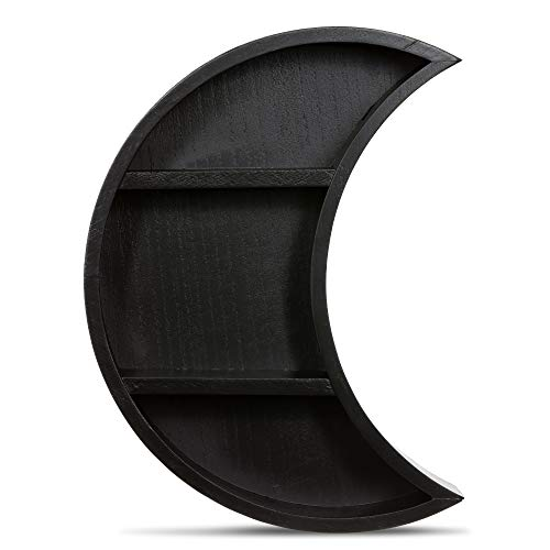 Rustix Rustic Black Crescent Moon Shelf - Wall Mounted Hanging Floating Shelves for Essential Oil Display or Crystal Holder - Moon Phase Hippie Celestial Boho Nursery Decor - Gothic Witchy Room Decor