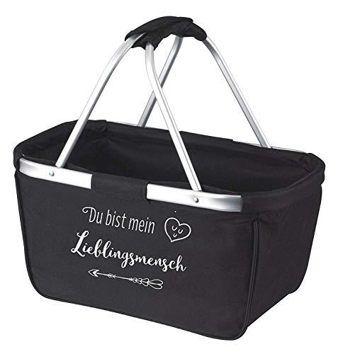 Mein Zwergenland Faltbarer Einkaufskorb Lieblingsmensch, 28 L, schwarz