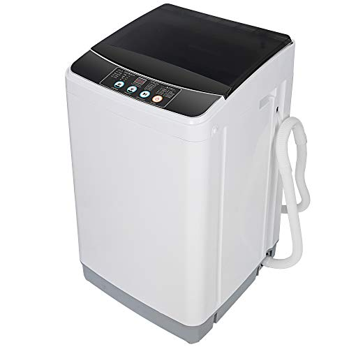 SUPER DEAL Full Automatic Washing Machine 2-in-1 Portable Compact Laundry Washer & Spin Combo with 10 Preset Programs 8 Water Levels for Apartments, RVs, Camping, Gravity Drainage, 8 LBS Capacity