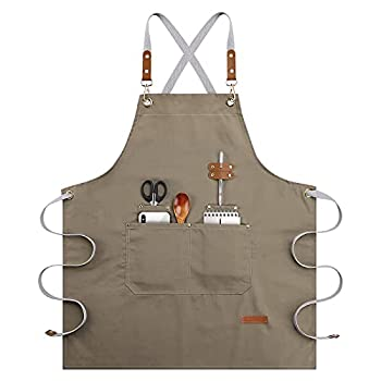 Chef Apron-Cross Back Apron for Men Women Cooking Aprons with Adjustable Straps and Large Pockets for BBQ & Grill - Canvas M-XXL Khaki