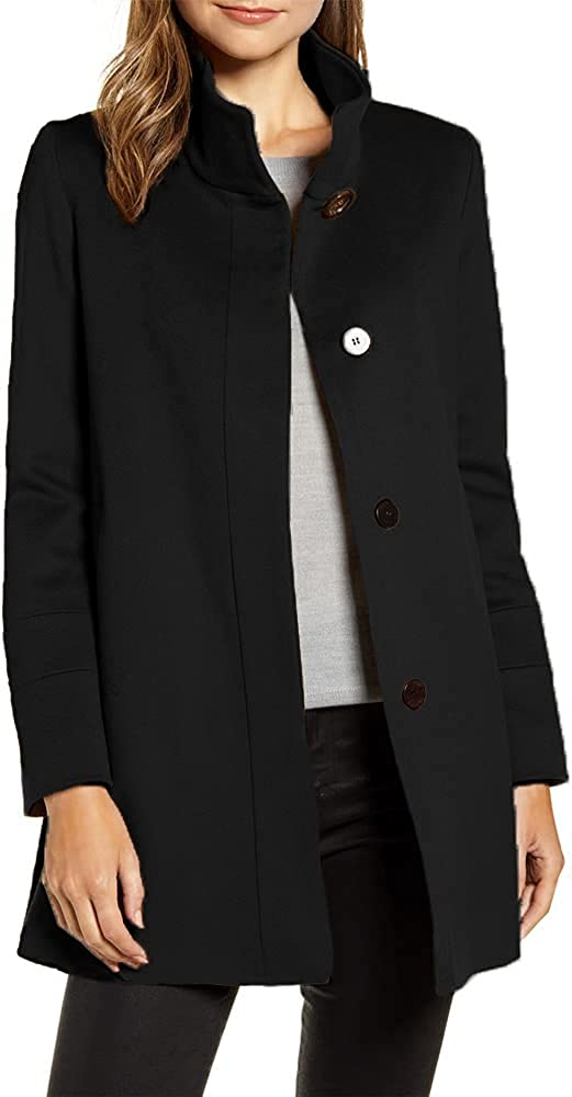 Women's Stand Collar Overcoat Hidden Button Artificial Wool Coat Winter Casual Mid Long Outwear Jacket with Pocket