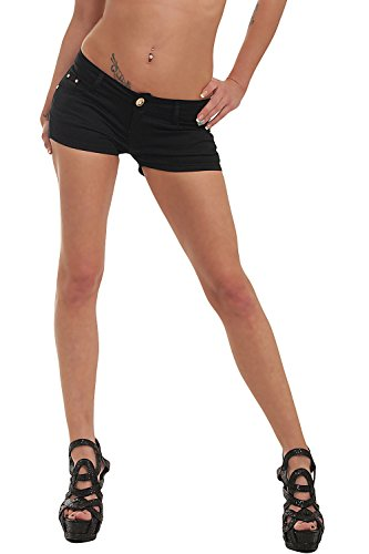 Fashion4Young 10021 Damen Sexy Stretch-Denim Hotpants Short Kurze Hose verfügbar in 5 Gr. 6 Farben (L = 40, Schwarz)
