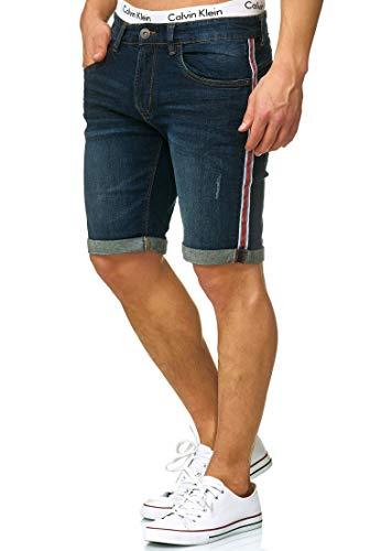 Indicode Herren Fife Jeans Shorts mit 5 Taschen aus 98% Baumwolle | Kurze Denim Stretch Sommer Hose Used Look Washed Destroyed Regular Fit Men Short Pants Freizeithose für Männer Dark Blue L