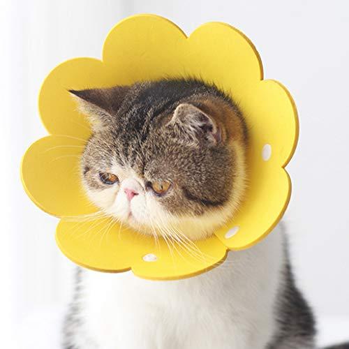 Kemelo Cat Protection Anti Lamiendo Collar de Recuperación de Girasol de 3 Piezas, Papel de Esponja Suave, Collar de Perro de Círculo Isabelino, Cadena Mediana para Cachorros, 22Cm