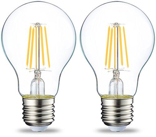 Amazon Basics Bombilla LED Esférica E27 con Filamento, 4.3W (equivalente a 40W), Blanco Cálido - 2 unidades