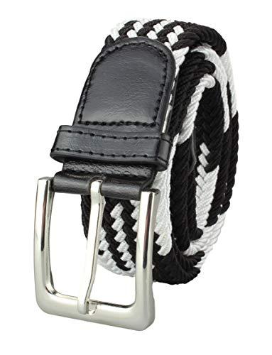 Alex Flittner Designs Elastischer Stoffgürtel Geflochtener Stretchgürtel Dehnbarer Gürtel für Damen und Herren in weiß mit Muster