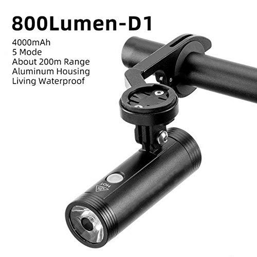 Luz de Bicicleta a Prueba de Lluvia USB Recargable Led 2000Mah MTB Lámpara Delantera Faros de Aluminio Linterna Ultraligera Luz de Bicicleta, Zhd1-800