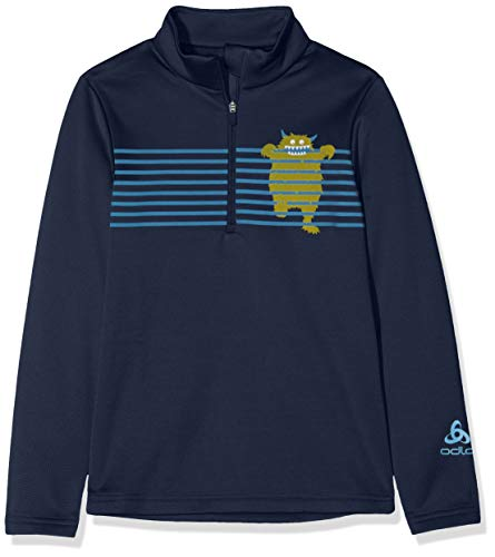 Odlo Midlayer Carve Light Pull Mixte Enfant, Diving Navy/Placed Print, FR : XL (Taille Fabricant : 164)