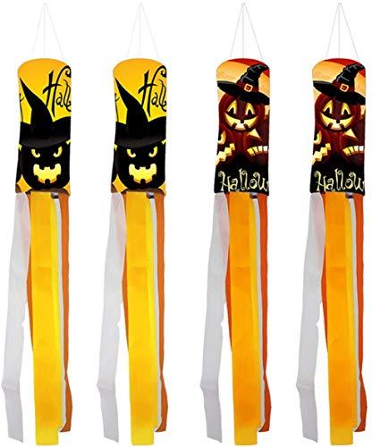 AOFOX Halloween Kürbis Geist Windsack Flagge, 4er Pack 1 Meter Lange Halloween Windsack Draussen Hängende Dekoration für Halloween Party Dekor