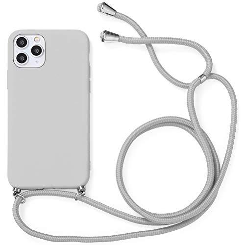 Yoedge Funda con Cuerda para iPhone 7 Plus/8 Plus-5.5', Carcasa de Silicona AntiChoque Suave TPU para Teléfono Móvil con Colgante Ajustable Collar Correa para el Cuello Cadena Cuerda, Gris