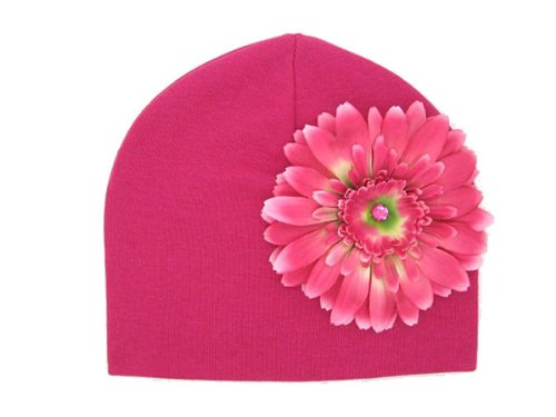 Jamie Rae Hats - Raspberry Cotton Hat with Candy Pink Daisy, Size: 4Y-6Y