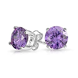 BEAUTIFUL DESIGN - These sterling silver, 7mm, studs are a great way to add a little something to your outfit. The basket set, simulated amethyst give these studs a formal, and elegant look, making them the perfect gift for any February with pierced ...