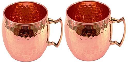 TreegoArt Taza de cobre puro, hecha a mano, estilo barril martillado Moscú Mule - (Paquete de 2)
