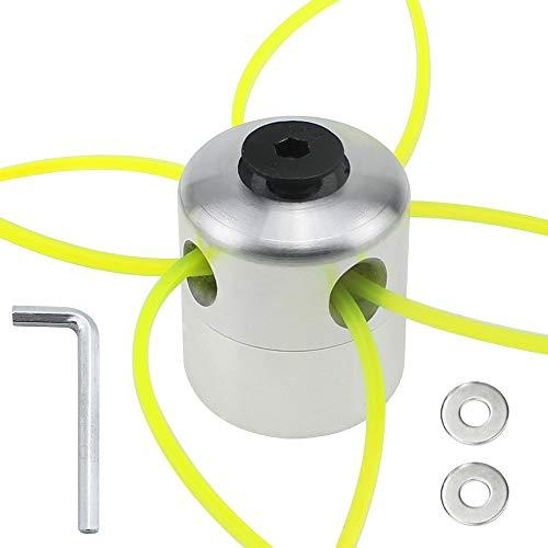 YPLonon 1 Juego de Cabezal Hilo Desbrozadora Cabezales de Desbrozadora Universal de Aluminio 5,3x4,55cm 4 Líneas de Nylon de Corte para Desbrozadora 26,5cm Excelente Accesorio para Podadora de Césped