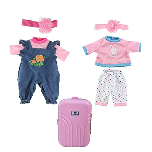 Clothes Set - 2 Set Pajamas Outfits Jumpsuits and Cute Rolling Suitcase Mini Luggage Box Suitable for Dolls and Children's Gift