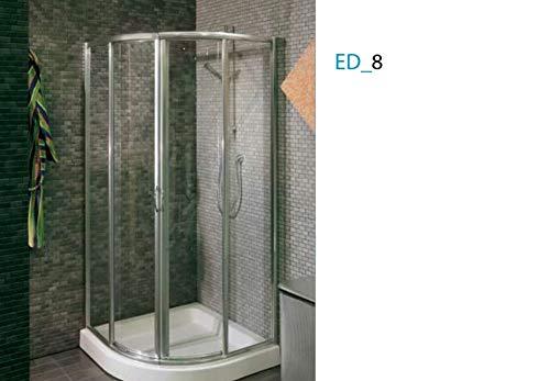 Douchecabine schuifdeur ED_8, glas chilla, aluminium profielen wit (afmetingen 78/80x187)