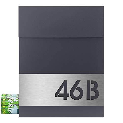 MOCAVI Box 500 Design-Briefkasten mit Hausnummer (Edelstahl-Schild graviert) und Zeitungsfach, anthrazit-grau (ral 7016)