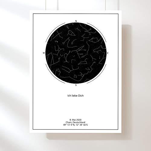 Ultimate Poker Personalisierte Sternenkarte Poster vom Sternenhimmel an deinem Tag & Ort - Fineart Print 50x70 cm (Schwarz auf weißem Hintergrund)