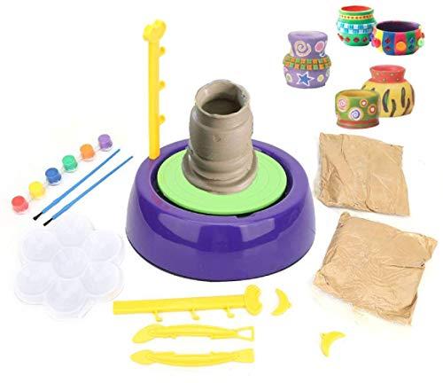 Kinderaardewerkwiel, Aardewerkstudio, Keramische machine met klei + Pigmentset voor kinderen vanaf 8 jaar, Educatief speelgoed voor kinderen Beginners Schoolonderwijs, Vakantiegeschenken