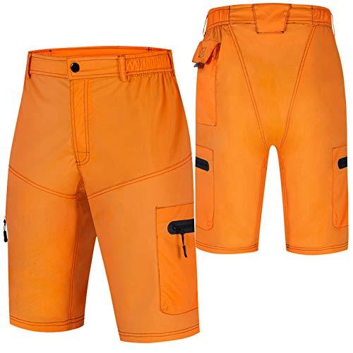 Culotte Ciclismo Hombre,Transpirable Cómodo Pantalones Cortos de Ciclismo,Impermeable Verano Culotes Ciclismo Hombre, para Correr Deportes al Aire Libre Pantalon Mountain Bik(Size:XXL,Color:Naranja)