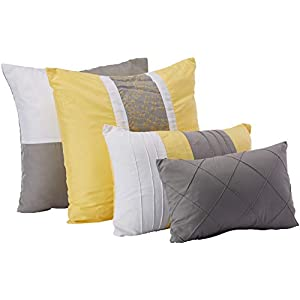 Chic Home 8-Piece Embroidery Comforter Set, King, Euphoria Yellow