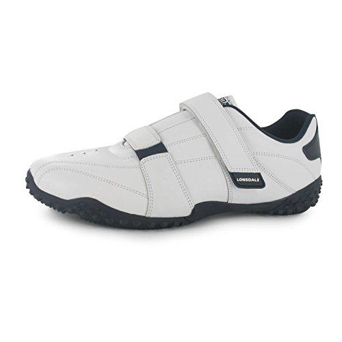 Lonsdale Fulham, scarpe da ginnastica da uomo, con lacci e imbottitura all'altezza della caviglia, in pelle , (White/navy), 9 UK